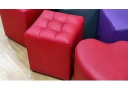 Пуфик-банкетка для примерки обуви (красный куб с прошивкой)