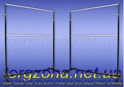 Стойка для одежды двойная L1,5, комбинированная (верхние трубы d25 мм. стенка 1 мм. хром)
